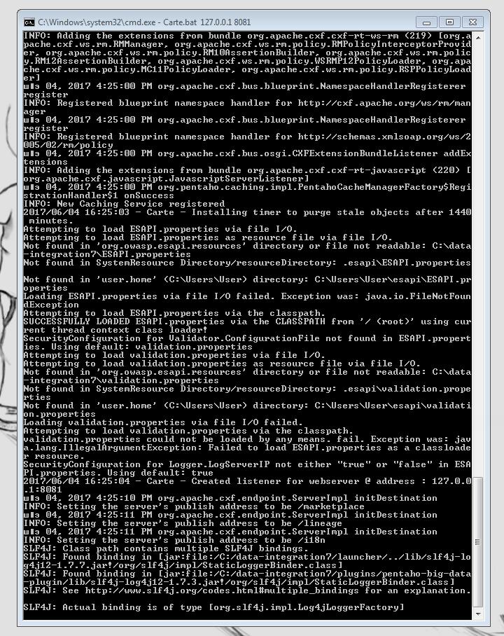 Запущенный веб-сервер Carte