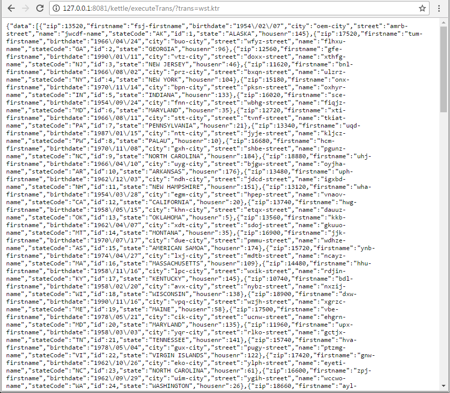 Результат в виде JSON